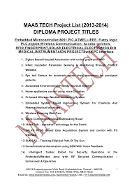 final year diploma projects list for dece deee dct dme maas tech project list 2013 2014 diploma project titlesembedded microcontroller 8051