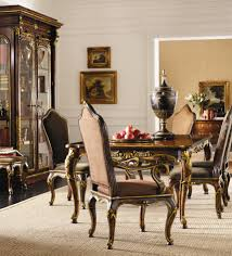 henredon arabesque leg table upholstered back chairs set louis mohana furniture dining 7 or more piece sets