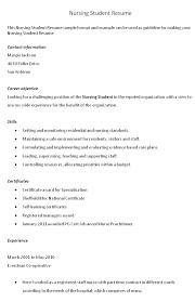 Nursing Resume Templates For Nursing Students
