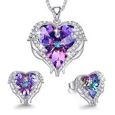 cde jewelry set for women angel wing embellished with crystals from swarovski pendant necklace heart of