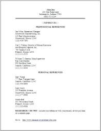 Professional References Example Reference List Template