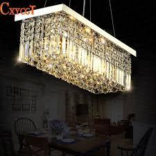 led modern rectangular crystal chandelier light fixture pendant hanging lamp for parlor dining room restaurant decoration drum light pendant