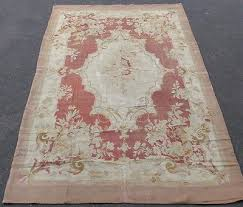 antique french aubusson rug 19thc wool tapestry weave 5 8x9 6 rose hand woven