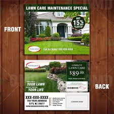 lawn care door hanger template by the lawn market advertise landscaping marketing direct mailer template front and back design lawncare marketing branding