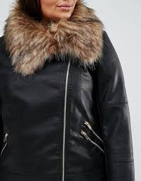 new look plus faux fur collar leather jacket black women jackets new look tops