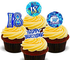 Made4you 18th Birthday Boy Blue Edible Cake Decorations Stand Up