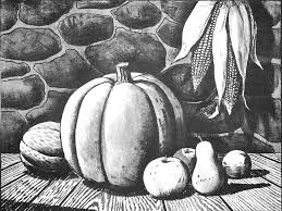 pumpkin drawing with shading. finished black and white drawing of an autumn harvest scene with pumpkins / corn, fruit pumpkin shading -