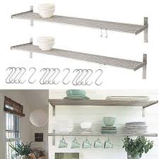 Amazon.com - Set of 2 Ikea Grundtal Stainless Steel Kitchen Shelves with 15  S Hooks -