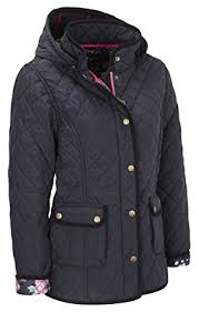 VEDONEIRE Womens Quilted Jacket with detachable hood (5038) Navy ... & Womens Quilted Jacket with detachable hood (5038) Navy blue padded coat (S ( Adamdwight.com