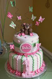Girl 1st Birthday Cake Pink And Green Bears And Butterflies