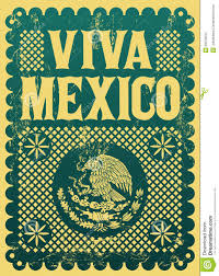 Mexican Style Graphic Design Vintage Viva Mexico Mexican Holiday Stock Photo Image