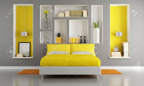 Nice Stock Photo   Yellow And Gray Modern Bedroom With Double Bed And Niche    Rendering