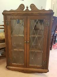 old charm oak wall hanging storage display cabinet leaded glass doors wood bros