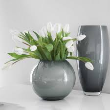 MOON glass vase round gray / opal | DESSAIVE selected