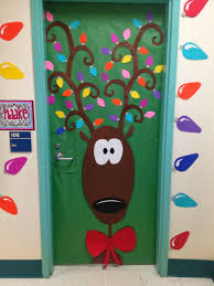 decorating office doors for christmas. Pretty Ideas For Christmas Door Decorations Features Deer Picture Theme Decoration And Colorful Led Chain Lights Decorating Office Doors O