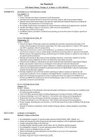 Data Center Manager Resumes Data Center Manager Resume Samples Velvet Jobs