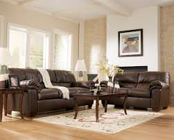 Living Room:Small Modern Brown Living Room Design Idea With Microfiber Sofa  And Also Furniture
