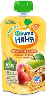 <b>ФрутоНяня пюре</b> из яблок и персиков со злаками с 6 месяцев, 130 г