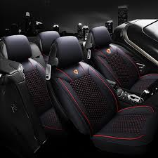 5pcs pu leather car front rear seat cushion cover protector with headrest universal for 5 seats car cod