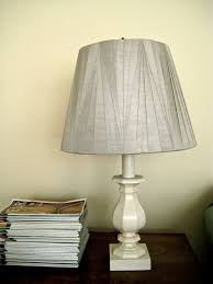 simple diy candlestick table lamp with gray fabric cover and mini wooden base painted with white color ideas