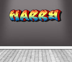 personalized name full color graffiti wall decals cracked 3d wall sticker mural decal graphic wall art on graffiti wall art bedroom with personalized name full color graffiti wall decals cracked 3d wall