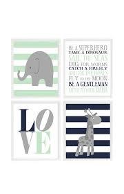 elephant nursery art baby boy nursery giraffe wall art gray navy blue mint green boy rules love boy room decor stripes baby gift
