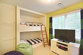 kids bedroom with tv. Dazzling Bunk Bed With Desk Underneath In Kids Traditional Bedroom Tv Next To Built Closet Alongside Wardrobe And Beds N