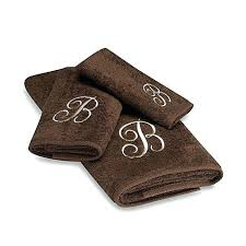 premier ivory script monogram hand towels in mocha next initial bath dillards southern living