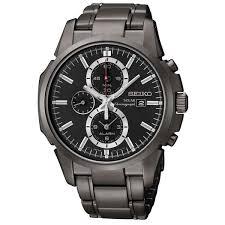 men s seiko solar alarm chronograph black ion plated watch item men s seiko solar alarm chronograph black ion plated watch item ssc095 reeds jewelers