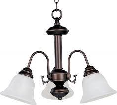 three light oil rubbed bronze marble glass down mini chandelier