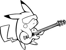Coloriage Pikachu Avec Une Guitare Imprimer
