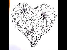 Small Picture Heart shaped coloring page flowers in a heart easy drawing for