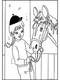 Kleurplaat Meisje Bij Haar Paard Kleurplatennl