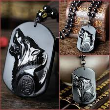 black obsidian wolf pendant necklace