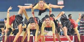 indian teams perform at the free flow yoga dance event of the asian yoga sports chionships in thiruvananthapuram on sunday