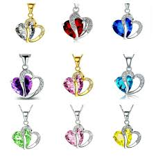 details about silver or gold plated crystal heart pendant necklace various colours