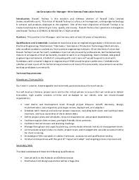 harness description list (kbl) wire harness designer job description job description for manager wire harness rossell techsys