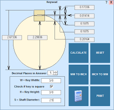 Imperial Keyway Chart Machinists Calculator Keyway And Keyseat Calculations