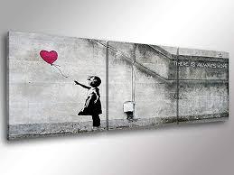Quadro Moderno Banksy Bambina Con Palloncino 3 Pz Cm 150x50