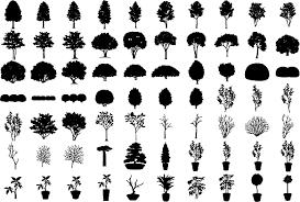 フリーダウンロード素材シルエットイラスト画像木ツリー木の葉