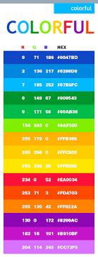Colorful color scheme, Colorful web colors