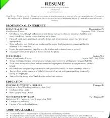 Cafeteria Worker Resume Fascinating Food Service Worker Resume Awesome Food Service Worker Resume