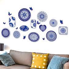 blue and white china wall art