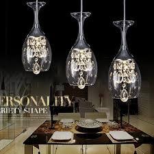 modern crystal wine glass pendant light