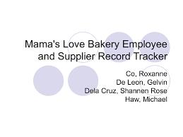 Bakery Organizational Chart Mama S Love Bakery Employee And Supplier Record Tracker