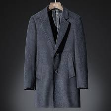 mens wool business mid long casual suit collar single ted trench coats