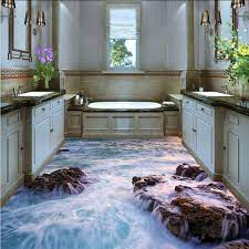 Amazon Com Xbwy 3d Waterproof Wallpaper For Bathroom Floor Custom Pvc Self Adhesive Floor Mural Wall Paper 3d Room Landscape Flowing Water Reef 280x200cm Furniture Decor