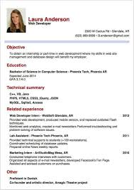 Example Of Resume For Internship Examples Of Resumes