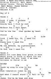 lord i need you sheet music gospel song lord i need you chris tomlin lyrics and chords