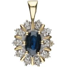 14 kt yellow gold pendant set with an oval cut sapphire and 10 single cut diamonds with a total of 0 05 ct in a white gold setting length x width 17 mm